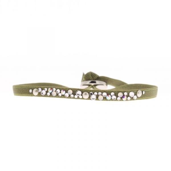 Bracelet Perle 4 - Kaki Moyen - Cristal