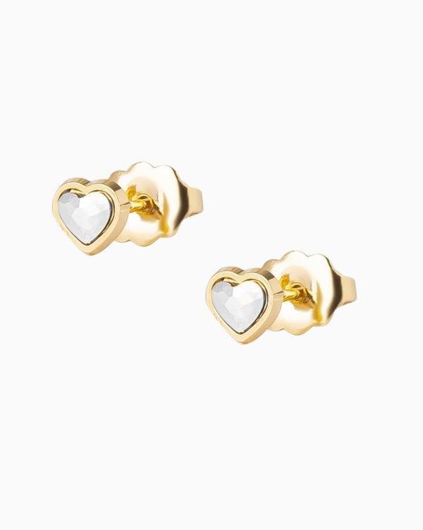 Boucles d oreilles Coeur - Or Jaune - Cristal