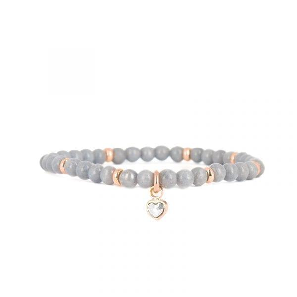 Bracelet Perle Coeur - Gris 3 - Or Rose/Cristal