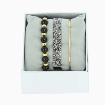 Strass Box Fabric 9 - Noir - Or Jaune