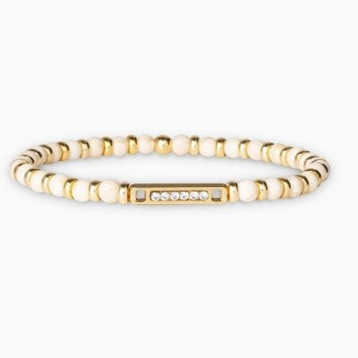 Bracelet Perle Mini Plaque Ligne - Crème - Or Jaune/Cristal