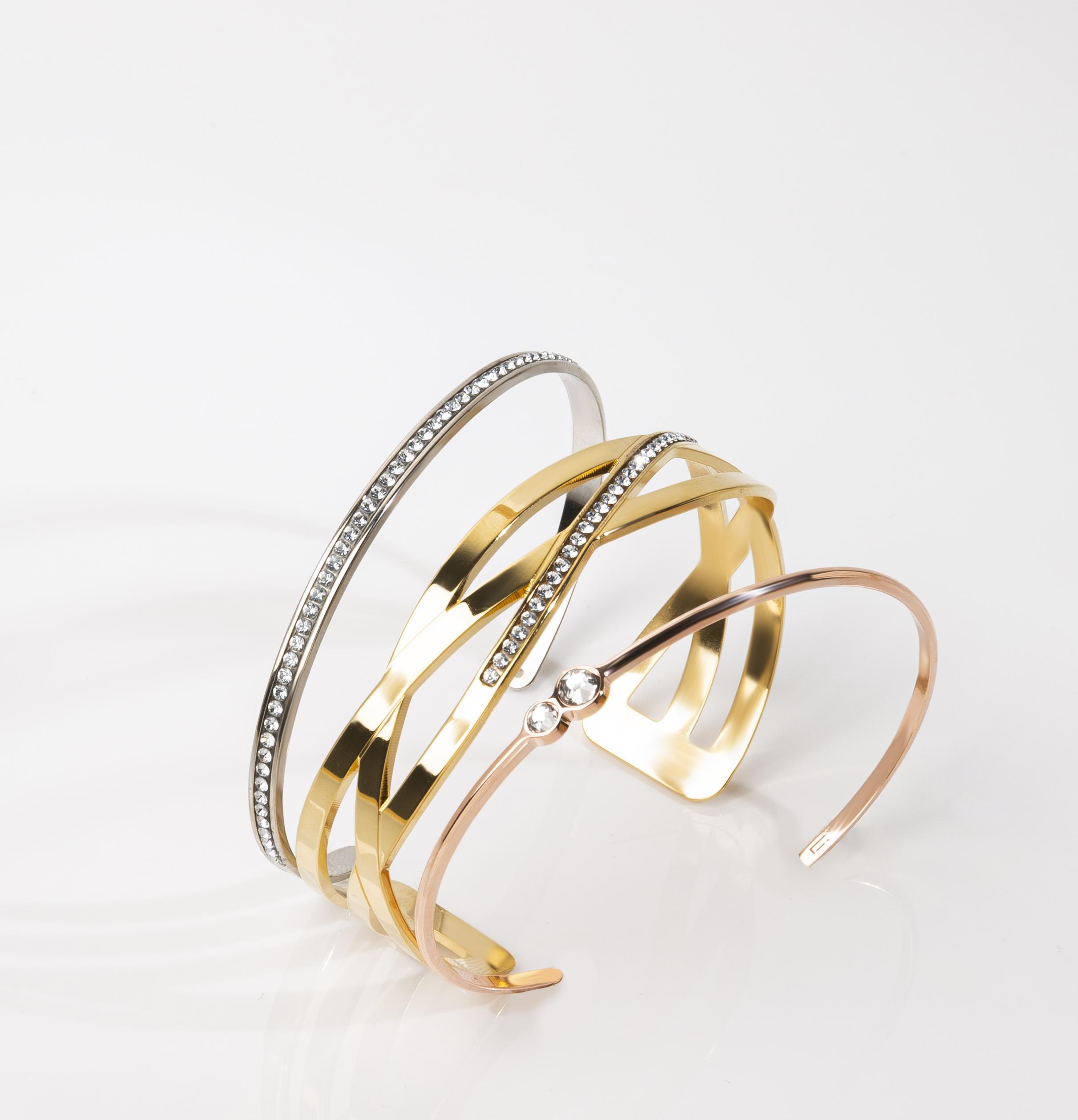 Braclets joncs pour femme ornés de cristaux de luxe