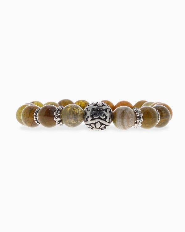 Bracelet perles et 1 rd métal - Agate Verte - Argent.