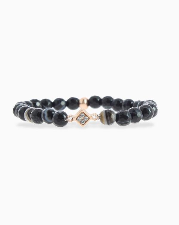 Bracelet Perles Mini Plaque Losange - Noir Blanc - Or Rose/Cristal