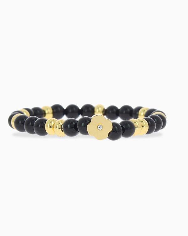 Bracelet Perle Forme Fleur - Noir - Or Jaune