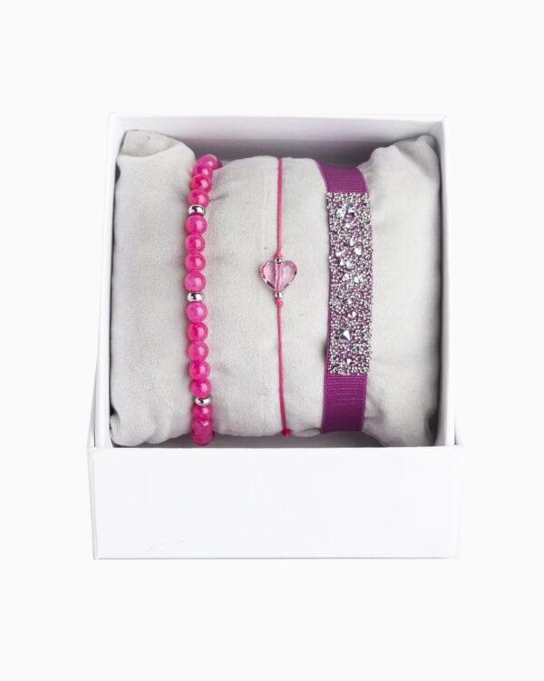 Strass Box Medley Coeur - Fushia Fonce - Cristal/Rose