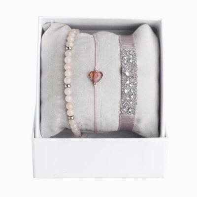 Strass Box Medley Coeur - Beige Rose 1 - Cristal/Silk