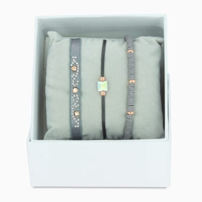 Strass Box Perles Gomme - Gris 2 - Pink Bronze/Or Rose