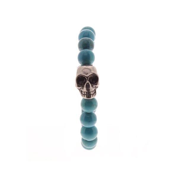 Bracelet tÊte de Mort et Grosses Perles - Turquoise - Argent vieilli