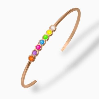 Jonc Rainbow - Or Rose - Multicolore Fluo