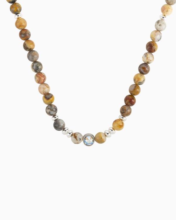 Collier Perle Ras de Cou L Audacieux - Curry - Palladium