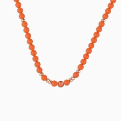 Collier Perle Ras de Cou L'Audacieux Fluo - Orange Fluo - Or Rose