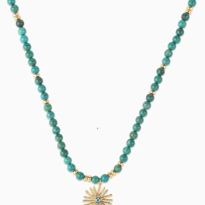 Sautoir Perle Soleil - Vert 1 - Or Jaune