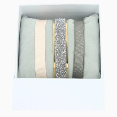 Coffret Jonc Ruban 9mm Fabric - Ro08/BR1/MFC - Or Jaune/Cristal