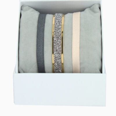 Coffret Jonc Ruban 6mm Fabric - Ro08/BR1/MFC - Or Jaune/Cristal