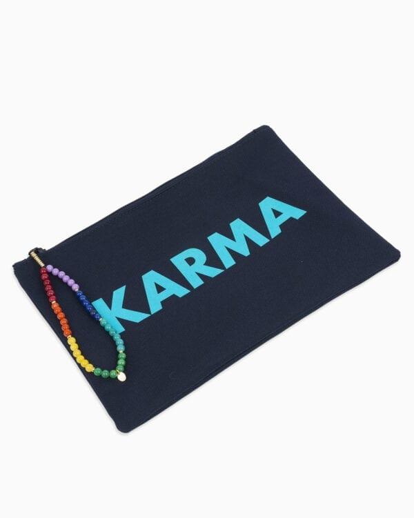 Pochette Karma - marine/turquoise - Or Jaune