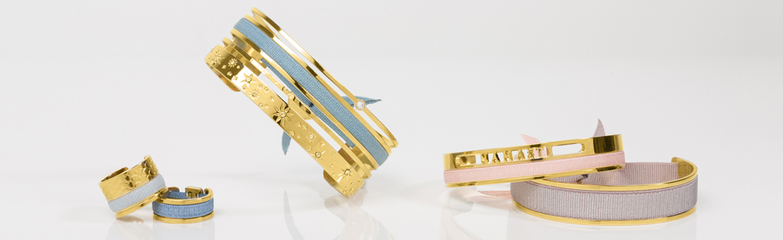 Bracelets joncs ruban interchangeables et personnalisables pour femme