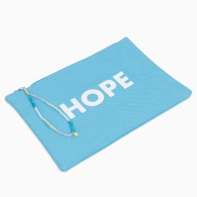 Pochette Hope - Turquoise/Blanc - Or Jaune