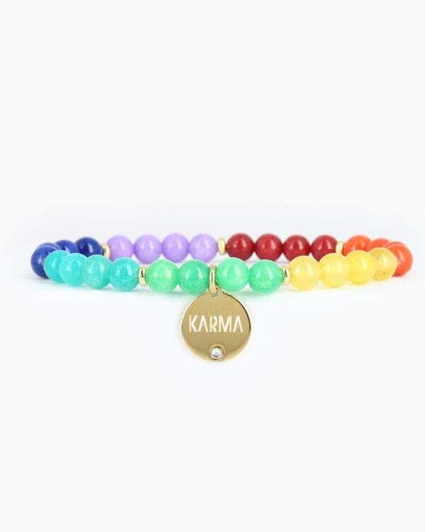 BRACELET PERLE KARMA - Multicolore - Or Jaune/Cristal