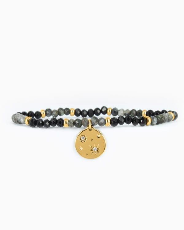 Bracelet Perle Galactique - Noir/Gris - Or Jaune