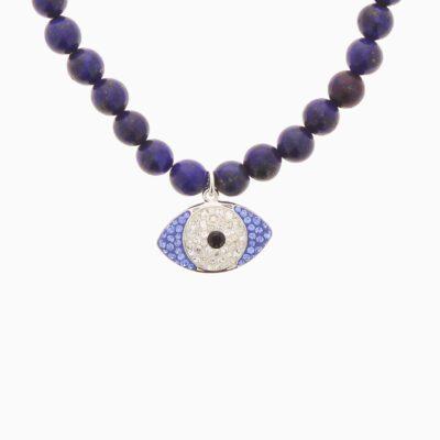Collier Oeil Grosses Perles - Bleu Foncé - Argenté/Bleu