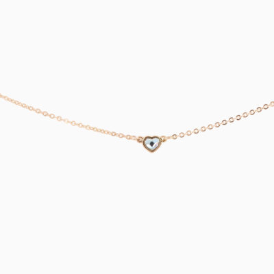 Collier Coeur - Or Rose - Cristal