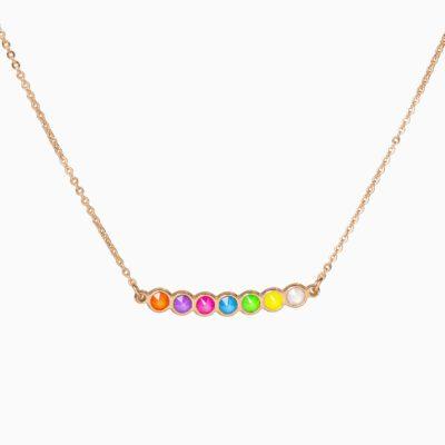 Collier Ras de Cou Rainbow - Or Rose - Multicolore Fluo